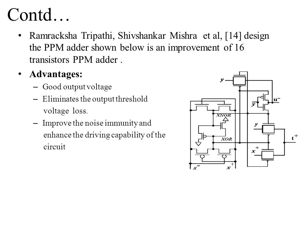 Contd… Ramracksha Tripathi, Shivshankar Mishra et al, [14] design the PPM adder shown below is an improvement of 16 transistors PPM adder .